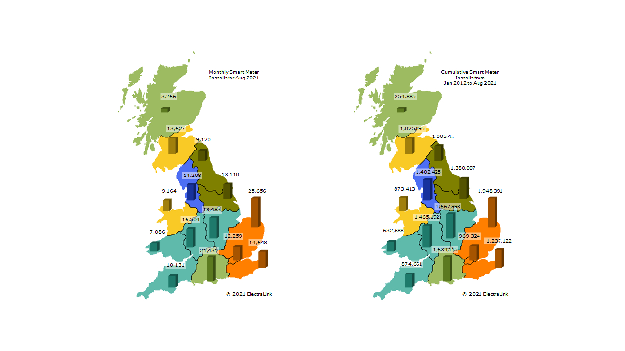 Map showing August 2021 smart meter installations and cumulative across regions in GB